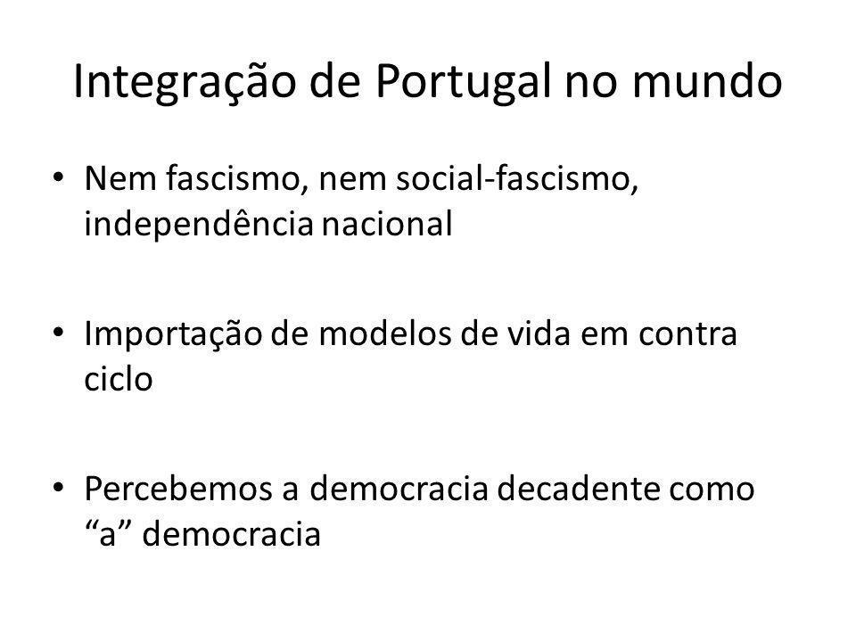 Integração de Portugal no mundo Nem fascismo, nem social-fascismo, independência nacional Importação de modelos de vida em contra ciclo Percebemos a d