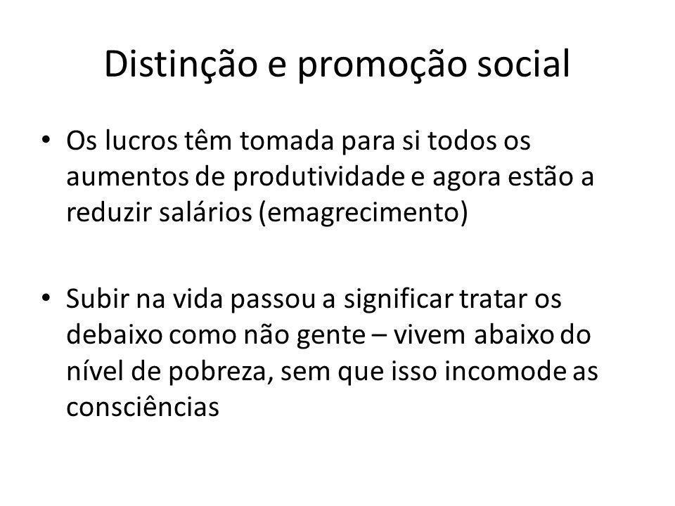 Distinção e promoção social Os lucros têm tomada para si todos os aumentos de produtividade e agora estão a reduzir salários (emagrecimento) Subir na