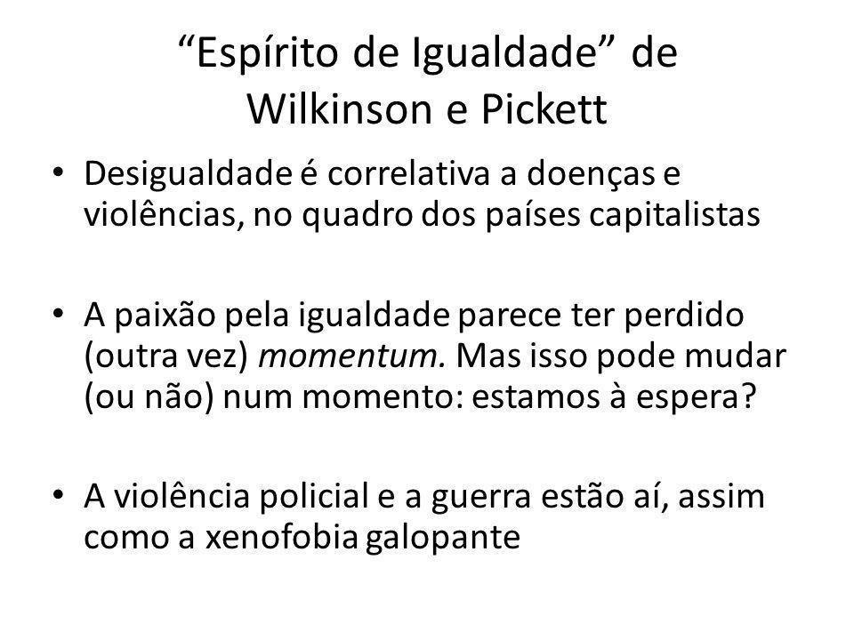 Espírito de Igualdade de Wilkinson e Pickett Desigualdade é correlativa a doenças e violências, no quadro dos países capitalistas A paixão pela iguald