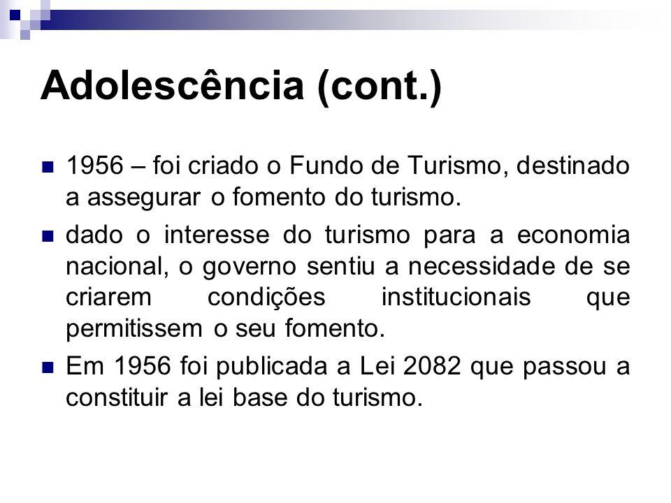 Adolescência (cont.) 1956 – foi criado o Fundo de Turismo, destinado a assegurar o fomento do turismo. dado o interesse do turismo para a economia nac