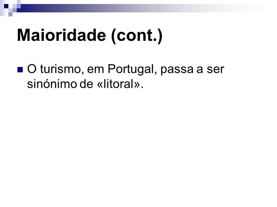 Maioridade (cont.) O turismo, em Portugal, passa a ser sinónimo de «litoral».