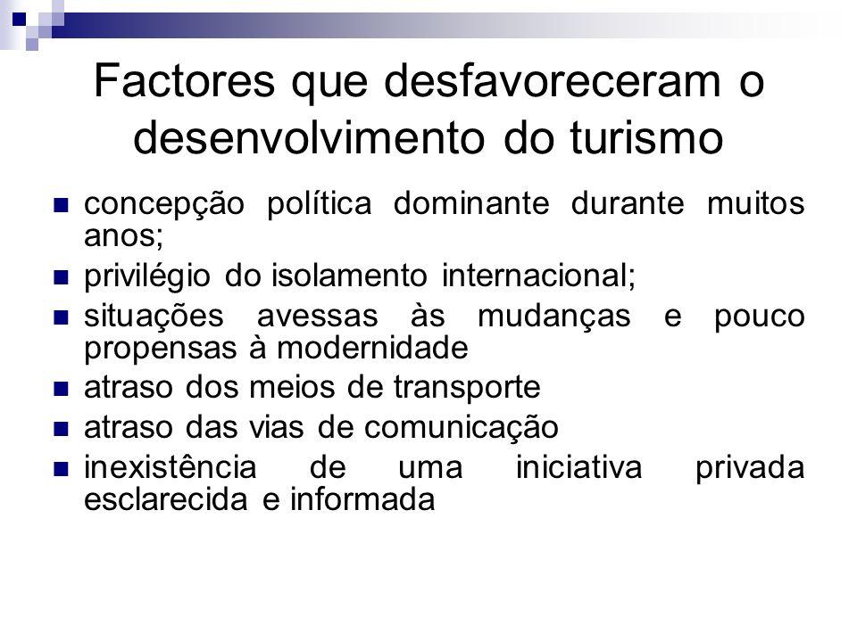 Factores que desfavoreceram o desenvolvimento do turismo concepção política dominante durante muitos anos; privilégio do isolamento internacional; sit