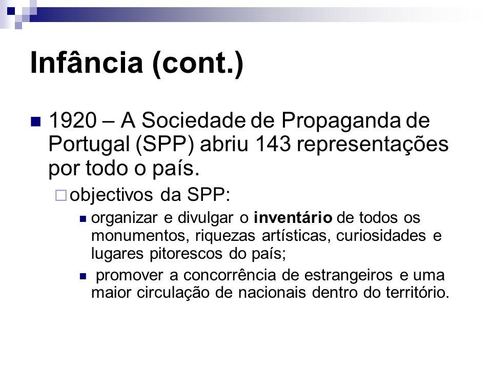 Infância (cont.) 1920 – A Sociedade de Propaganda de Portugal (SPP) abriu 143 representações por todo o país. objectivos da SPP: organizar e divulgar