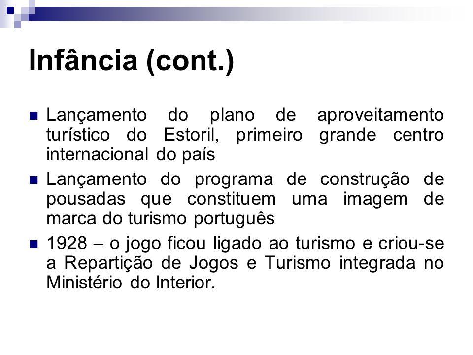 Infância (cont.) Lançamento do plano de aproveitamento turístico do Estoril, primeiro grande centro internacional do país Lançamento do programa de co