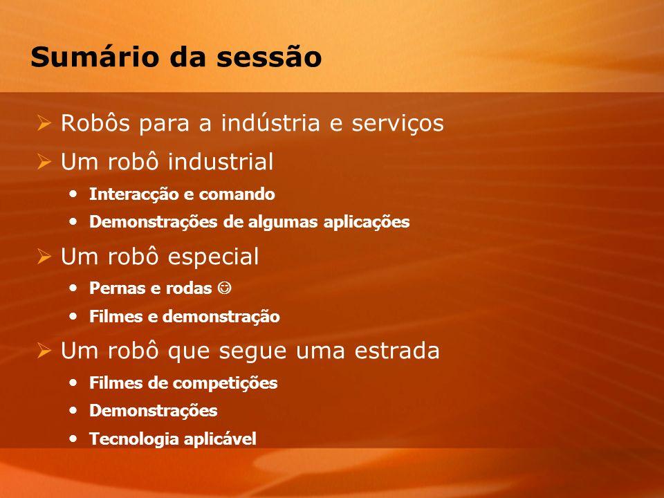 Sumário da sessão Robôs para a indústria e serviços Um robô industrial Interacção e comando Demonstrações de algumas aplicações Um robô especial Perna