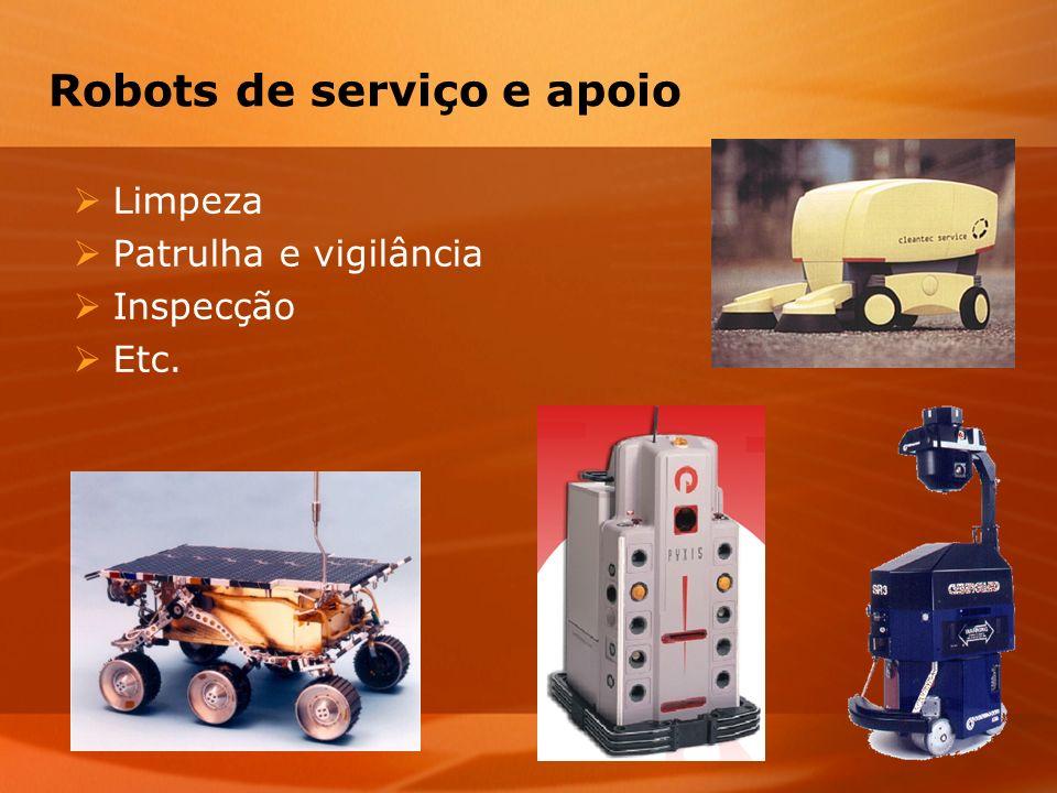 Robots de serviço e apoio Limpeza Patrulha e vigilância Inspecção Etc.