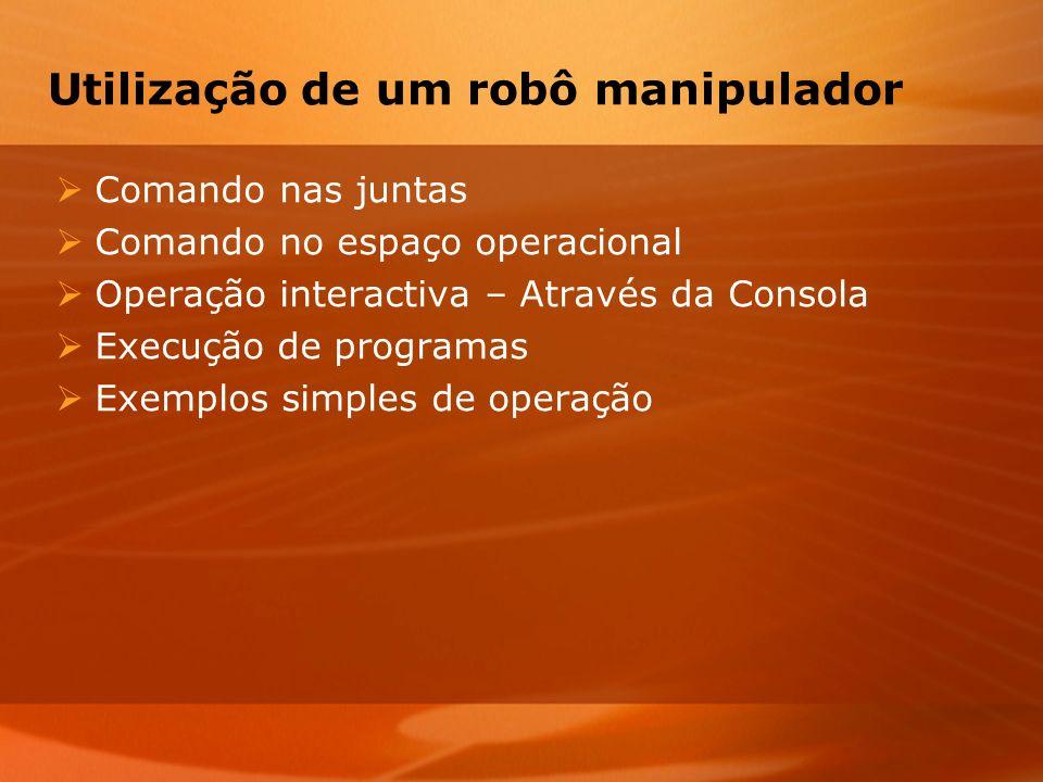Utilização de um robô manipulador Comando nas juntas Comando no espaço operacional Operação interactiva – Através da Consola Execução de programas Exe