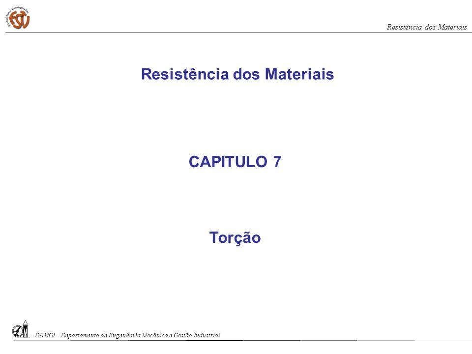 CAPITULO 7 Torção Resistência dos Materiais DEMGi - Departamento de Engenharia Mecânica e Gestão Industrial Resistência dos Materiais