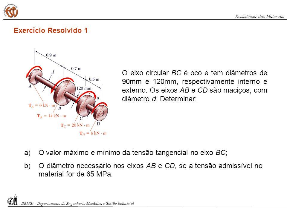a)O valor máximo e mínimo da tensão tangencial no eixo BC; b)O diâmetro necessário nos eixos AB e CD, se a tensão admissível no material for de 65 MPa