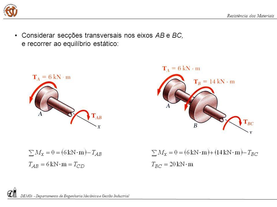 Considerar secções transversais nos eixos AB e BC, e recorrer ao equilíbrio estático: DEMGi - Departamento de Engenharia Mecânica e Gestão Industrial