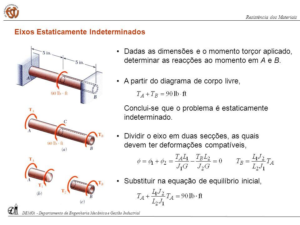 Dadas as dimensões e o momento torçor aplicado, determinar as reacções ao momento em A e B. Eixos Estaticamente Indeterminados A partir do diagrama de