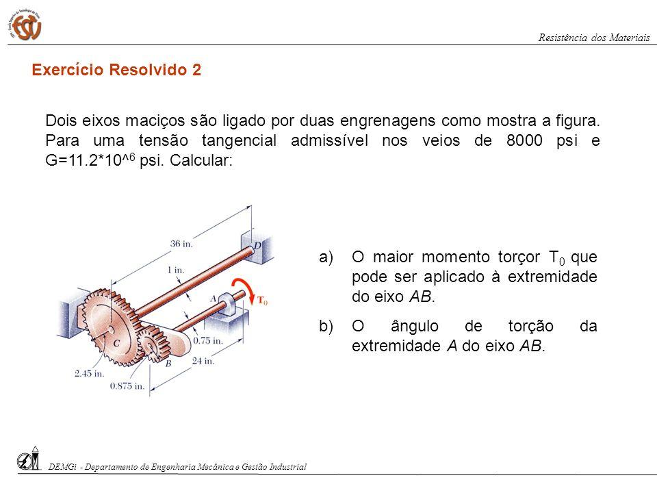 a)O maior momento torçor T 0 que pode ser aplicado à extremidade do eixo AB. b)O ângulo de torção da extremidade A do eixo AB. Exercício Resolvido 2 D