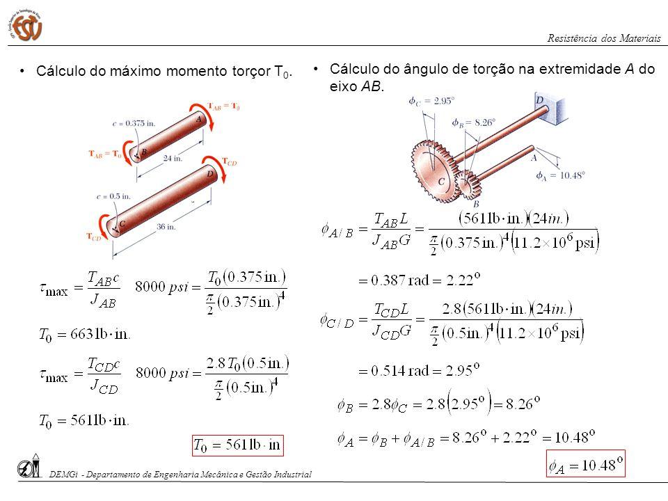Cálculo do máximo momento torçor T 0. Cálculo do ângulo de torção na extremidade A do eixo AB. DEMGi - Departamento de Engenharia Mecânica e Gestão In