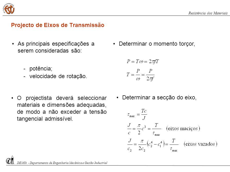 Projecto de Eixos de Transmissão As principais especificações a serem consideradas são: potência; velocidade de rotação. Determinar o momento torçor