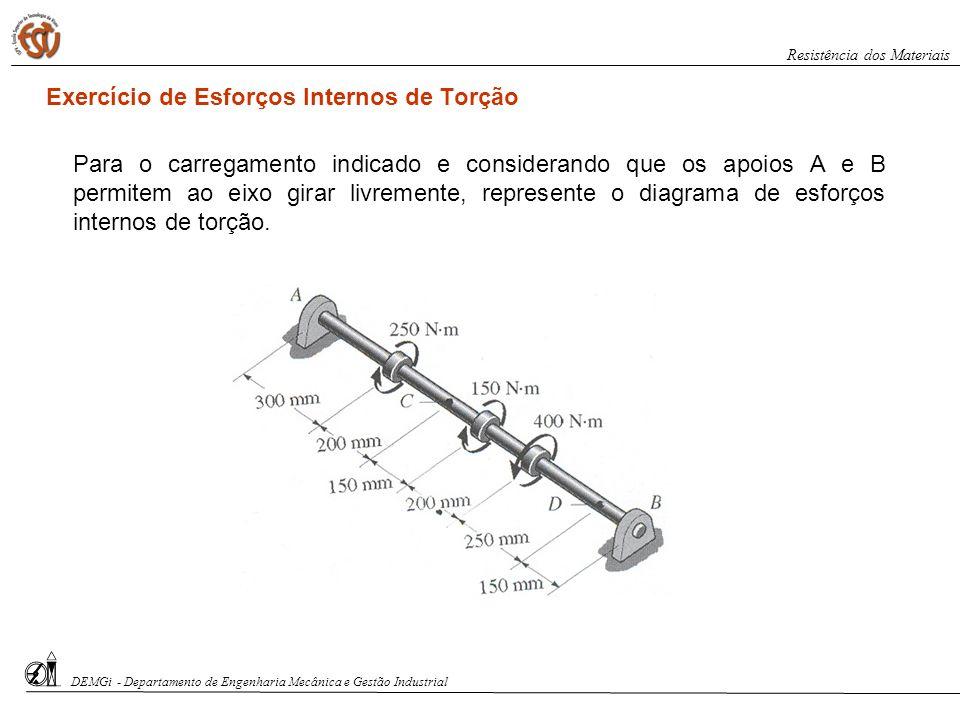Exercício de Esforços Internos de Torção Para o carregamento indicado e considerando que os apoios A e B permitem ao eixo girar livremente, represente