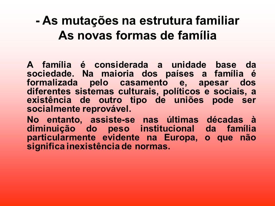 - As mutações na estrutura familiar As novas formas de família A família é considerada a unidade base da sociedade. Na maioria dos países a família é