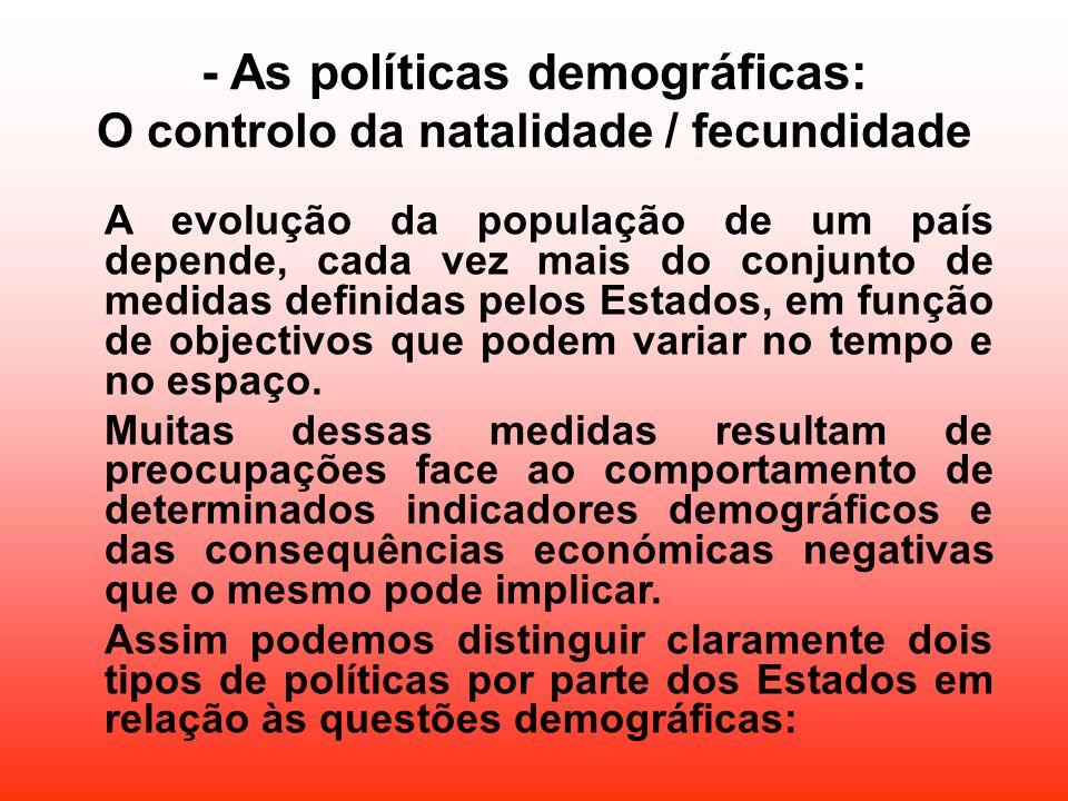 - As políticas demográficas: O controlo da natalidade / fecundidade A evolução da população de um país depende, cada vez mais do conjunto de medidas d