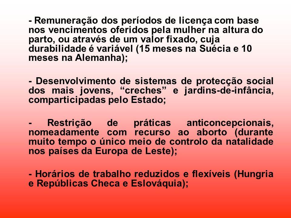 - Remuneração dos períodos de licença com base nos vencimentos oferidos pela mulher na altura do parto, ou através de um valor fixado, cuja durabilida