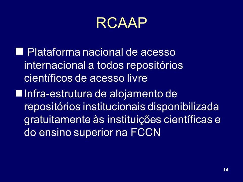 14 RCAAP Plataforma nacional de acesso internacional a todos repositórios científicos de acesso livre Infra-estrutura de alojamento de repositórios in