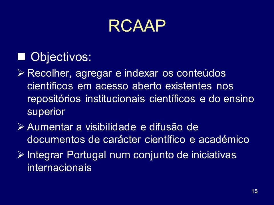 15 RCAAP Objectivos: Recolher, agregar e indexar os conteúdos científicos em acesso aberto existentes nos repositórios institucionais científicos e do