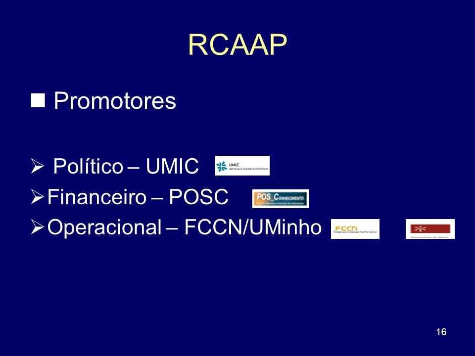 16 RCAAP Promotores Político – UMIC Financeiro – POSC Operacional – FCCN/UMinho