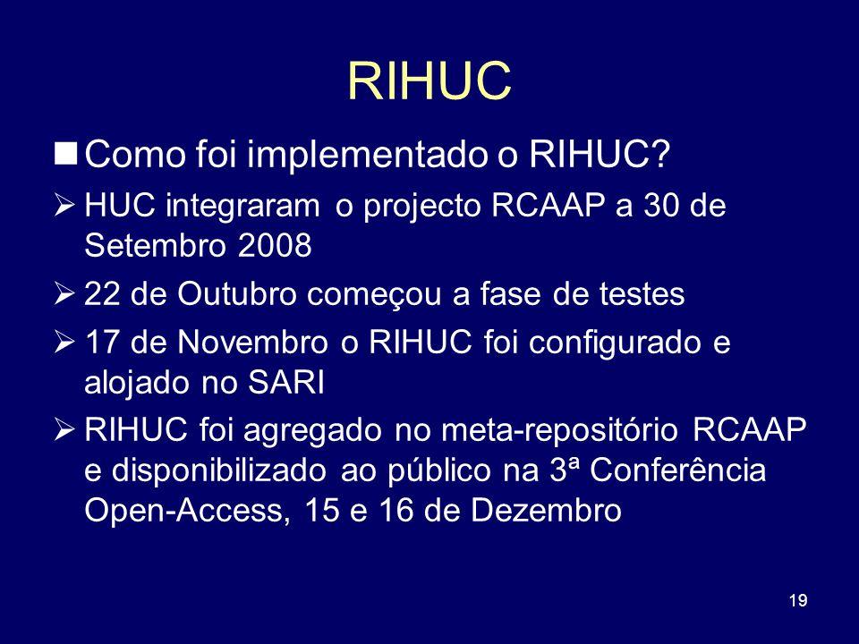 19 RIHUC Como foi implementado o RIHUC? HUC integraram o projecto RCAAP a 30 de Setembro 2008 22 de Outubro começou a fase de testes 17 de Novembro o