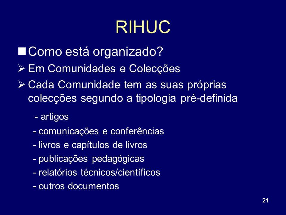 21 RIHUC Como está organizado? Em Comunidades e Colecções Cada Comunidade tem as suas próprias colecções segundo a tipologia pré-definida - artigos -