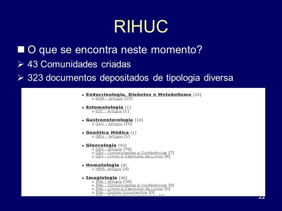 22 RIHUC O que se encontra neste momento? 43 Comunidades criadas 323 documentos depositados de tipologia diversa