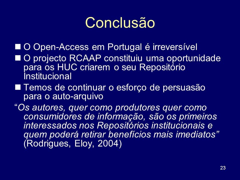 23 Conclusão O Open-Access em Portugal é irreversível O projecto RCAAP constituiu uma oportunidade para os HUC criarem o seu Repositório Institucional