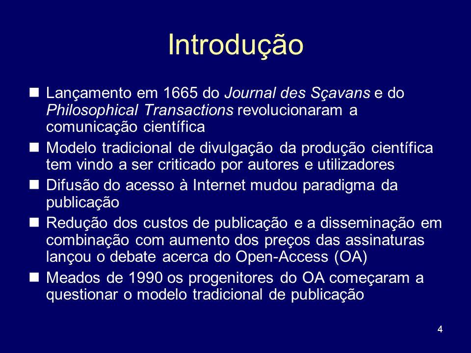 4 Introdução Lançamento em 1665 do Journal des Sçavans e do Philosophical Transactions revolucionaram a comunicação científica Modelo tradicional de d