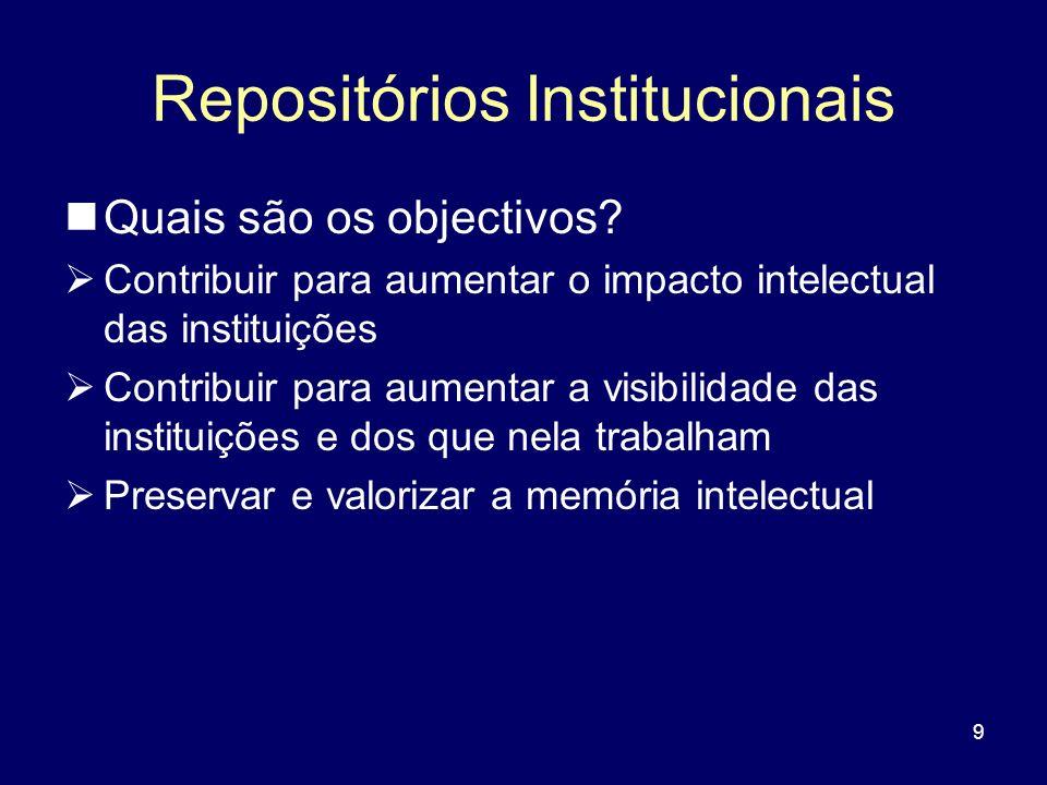 9 Repositórios Institucionais Quais são os objectivos? Contribuir para aumentar o impacto intelectual das instituições Contribuir para aumentar a visi