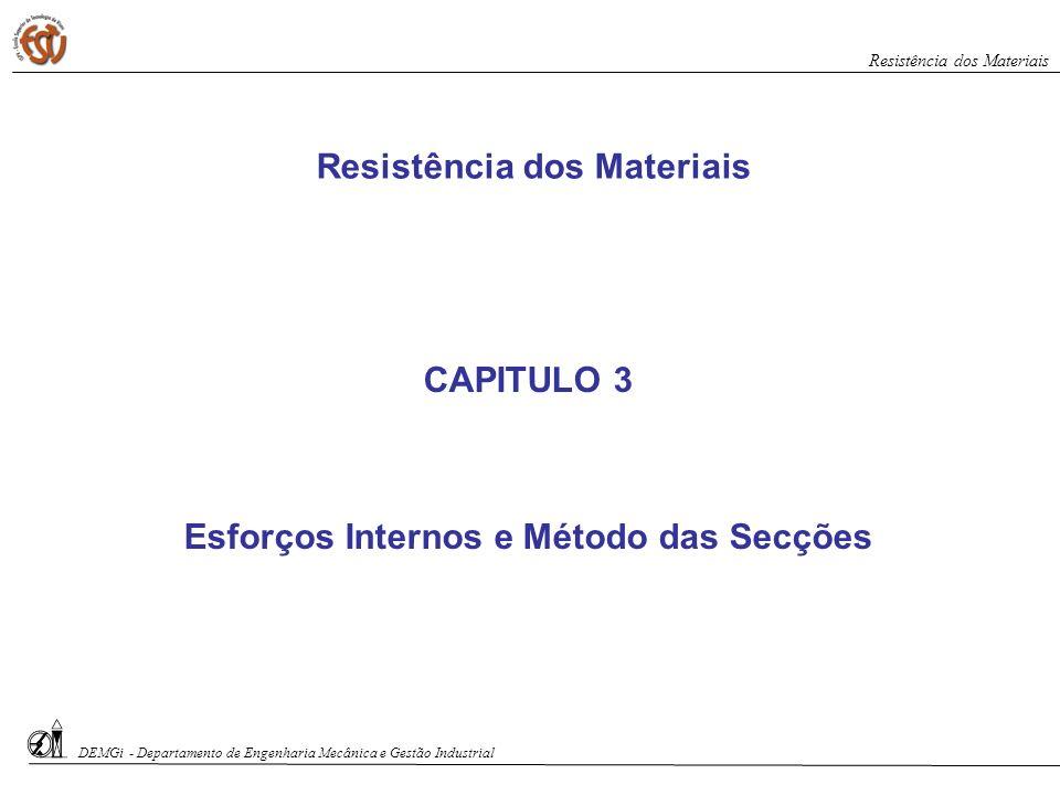 CAPITULO 3 Esforços Internos e Método das Secções Resistência dos Materiais DEMGi - Departamento de Engenharia Mecânica e Gestão Industrial Resistênci