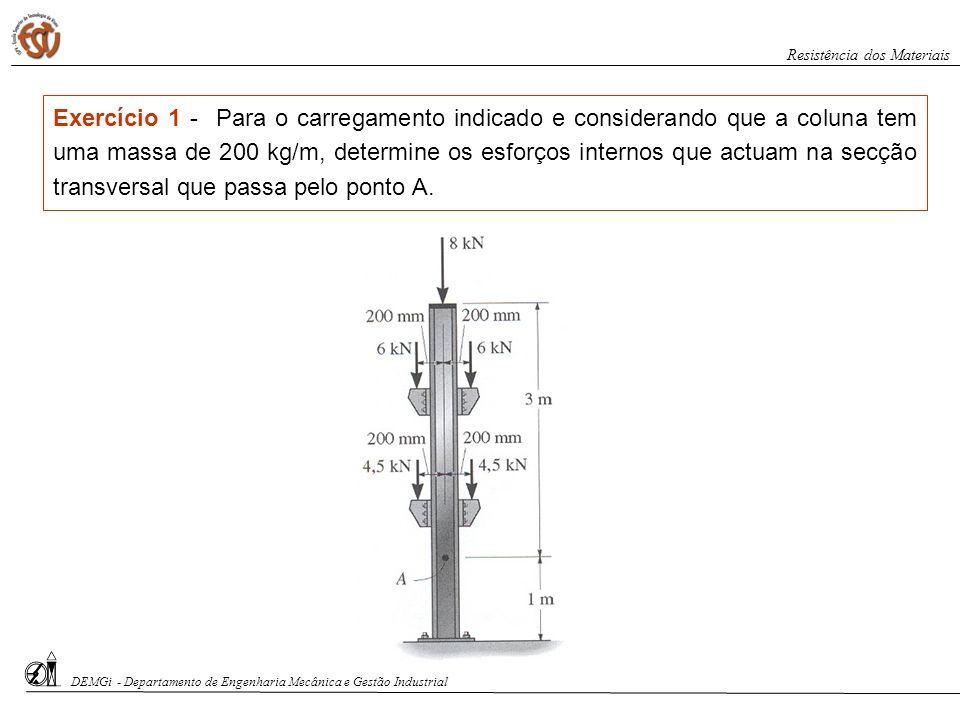DEMGi - Departamento de Engenharia Mecânica e Gestão Industrial Resistência dos Materiais Exercício 1 - Para o carregamento indicado e considerando qu