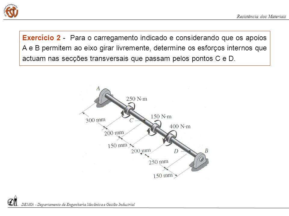 DEMGi - Departamento de Engenharia Mecânica e Gestão Industrial Resistência dos Materiais Exercício 2 - Para o carregamento indicado e considerando qu