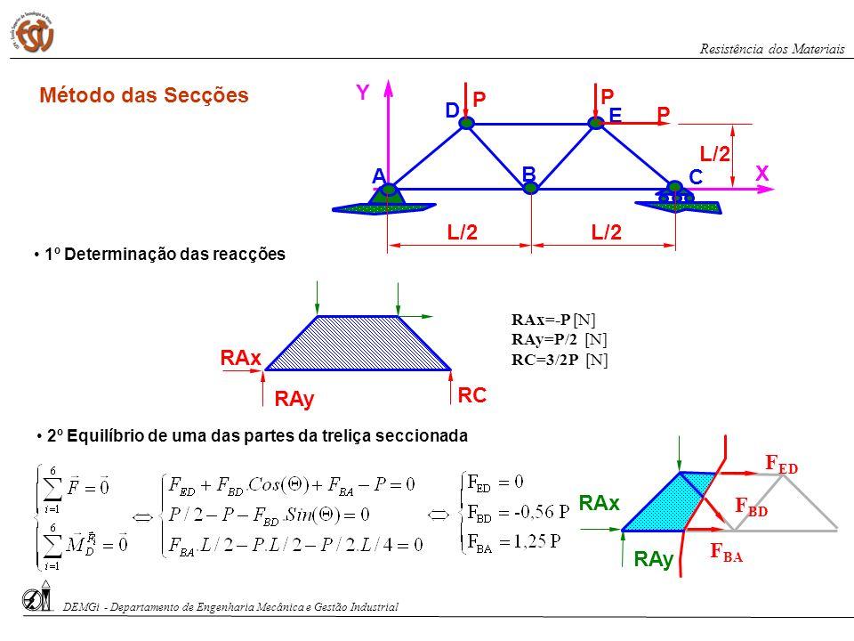 X Y A B E C D P P P L/2 1º Determinação das reacções RAy RAx RC RAx=-P N RAy=P/2 N RC=3/2P N 2º Equilíbrio de uma das partes da treliça seccionada RAy