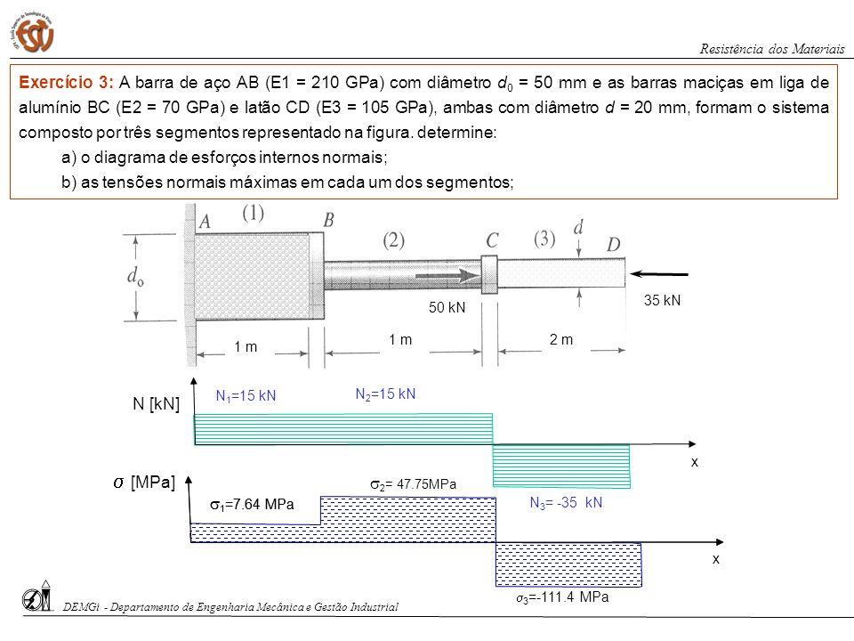 50 kN 35 kN 1 m 2 m DEMGi - Departamento de Engenharia Mecânica e Gestão Industrial Resistência dos Materiais Exercício 3: A barra de aço AB (E1 = 210
