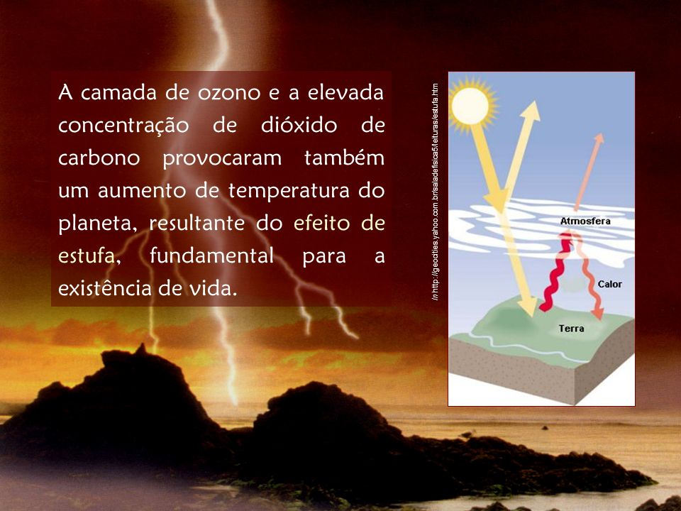 A camada de ozono e a elevada concentração de dióxido de carbono provocaram também um aumento de temperatura do planeta, resultante do efeito de estuf