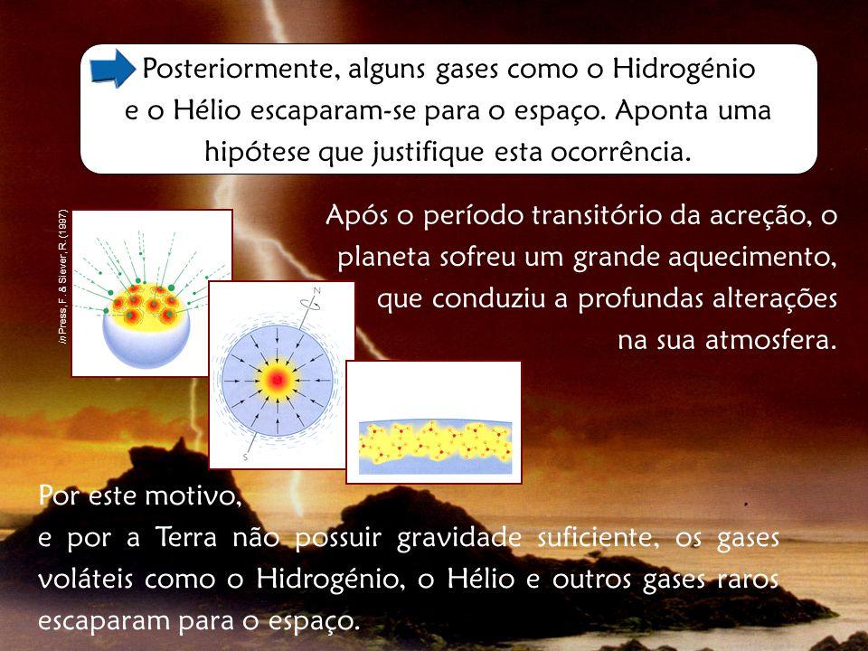 Posteriormente, alguns gases como o Hidrogénio e o Hélio escaparam-se para o espaço. Aponta uma hipótese que justifique esta ocorrência. Após o períod
