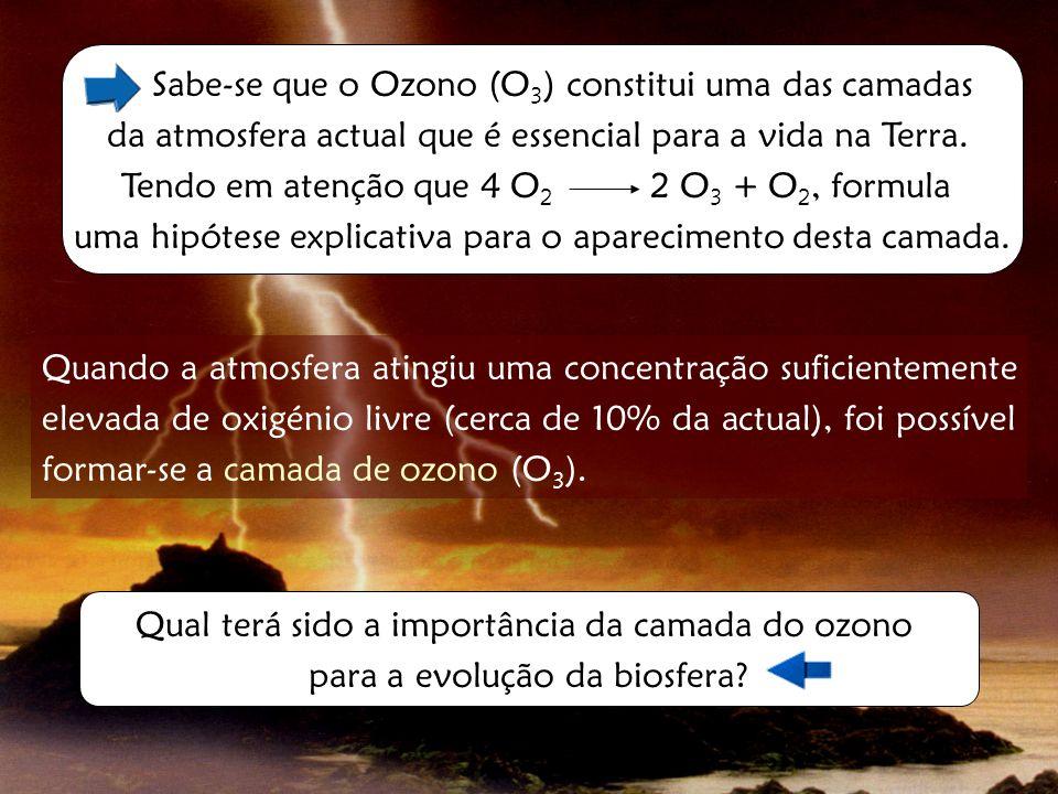 Sabe-se que o Ozono (O 3 ) constitui uma das camadas da atmosfera actual que é essencial para a vida na Terra. Tendo em atenção que 4 O 2 2 O 3 + O 2,