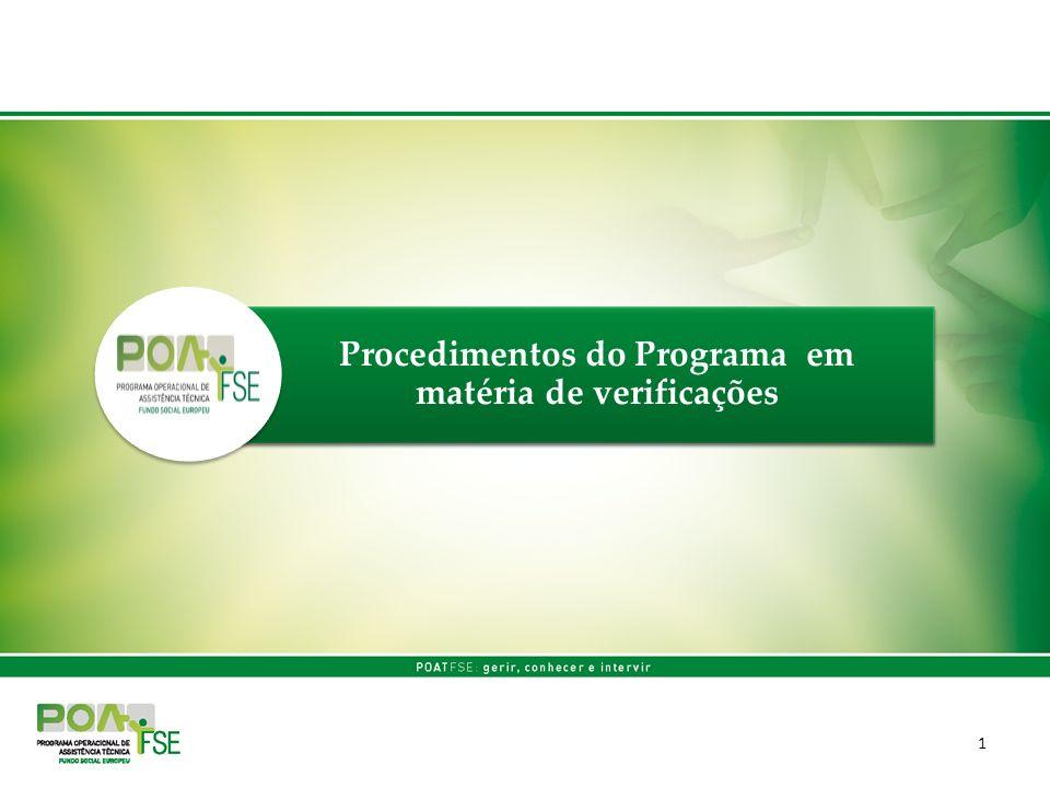 1 Procedimentos do Programa em matéria de verificações
