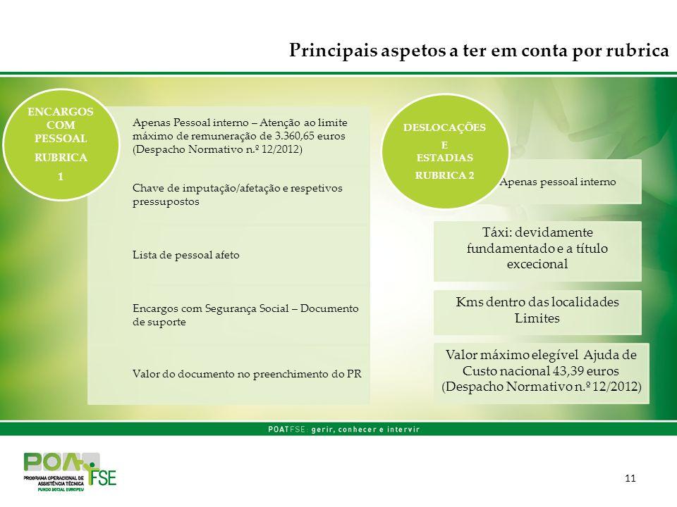 11 Apenas Pessoal interno – Atenção ao limite máximo de remuneração de 3.360,65 euros (Despacho Normativo n.º 12/2012) Chave de imputação/afetação e r