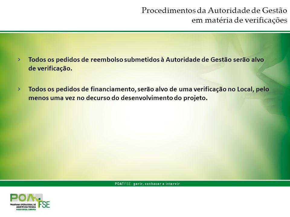 Procedimentos da Autoridade de Gestão em matéria de verificações Todos os pedidos de reembolso submetidos à Autoridade de Gestão serão alvo de verific