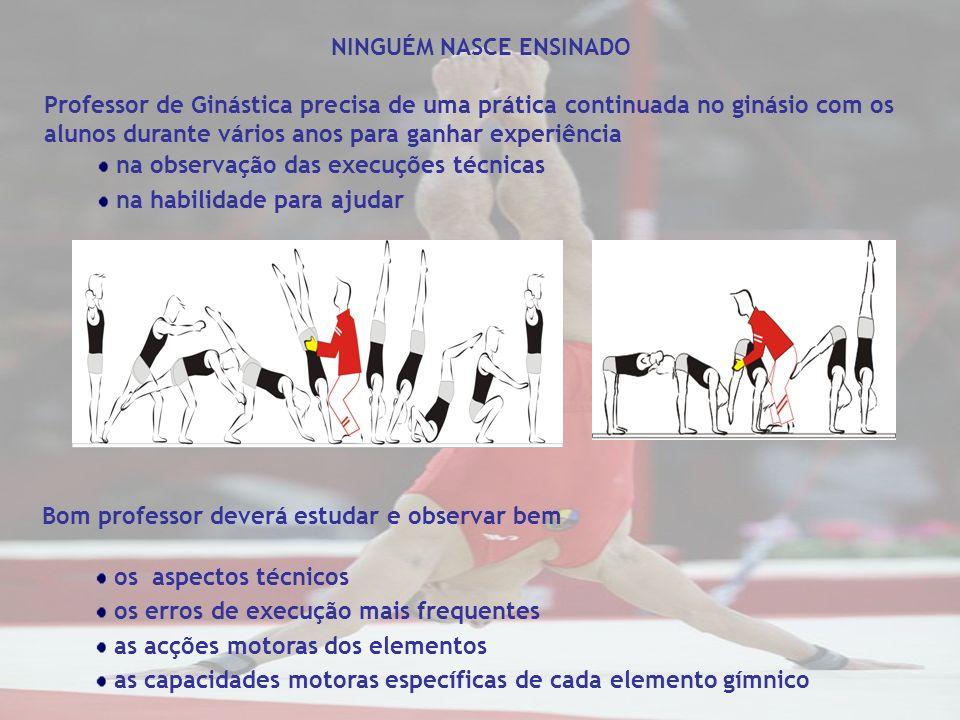 NINGUÉM NASCE ENSINADO Professor de Ginástica precisa de uma prática continuada no ginásio com os alunos durante vários anos para ganhar experiência n
