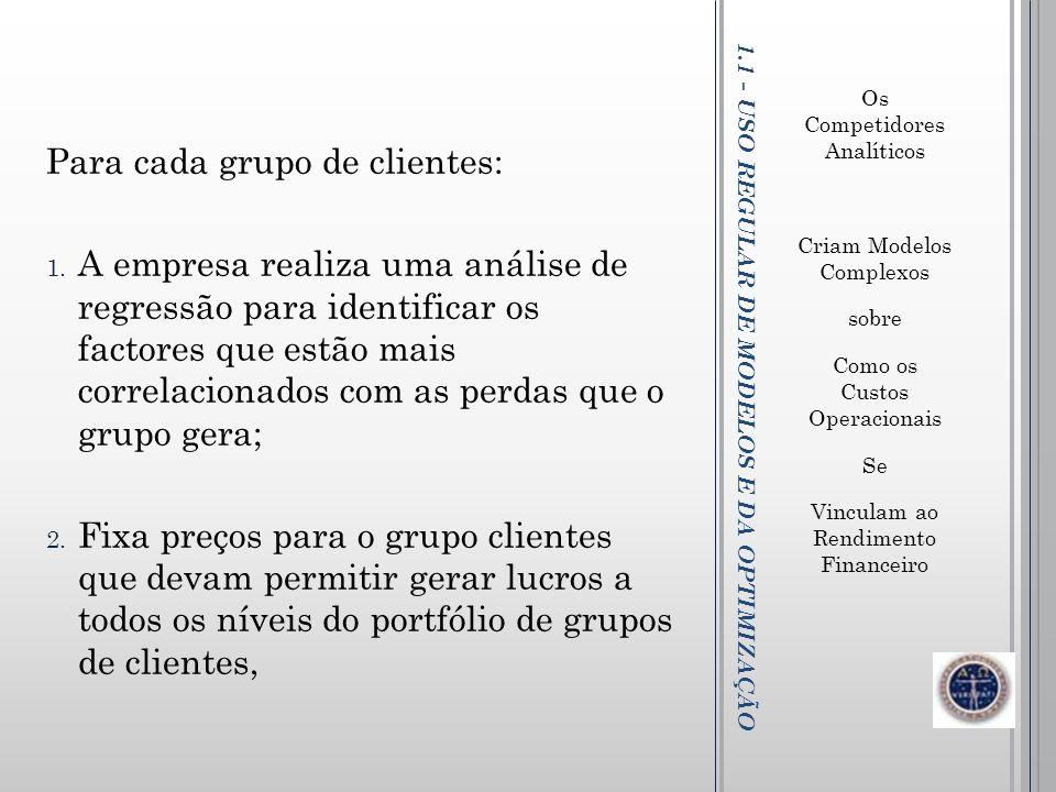 1.1 - USO REGULAR DE MODELOS E DA OPTIMIZAÇÃO Os Competidores Analíticos Criam Modelos Complexos sobre Como os Custos Operacionais Se Vinculam ao Rend