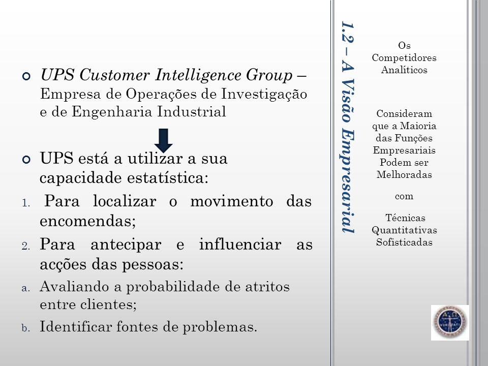 1.2 – A Visão Empresarial Os Competidores Analíticos Consideram que a Maioria das Funções Empresariais Podem ser Melhoradas com Técnicas Quantitativas