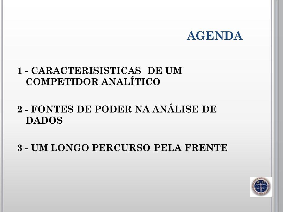 AGENDA 1 - CARACTERISISTICAS DE UM COMPETIDOR ANALÍTICO 2 - FONTES DE PODER NA ANÁLISE DE DADOS 3 - UM LONGO PERCURSO PELA FRENTE