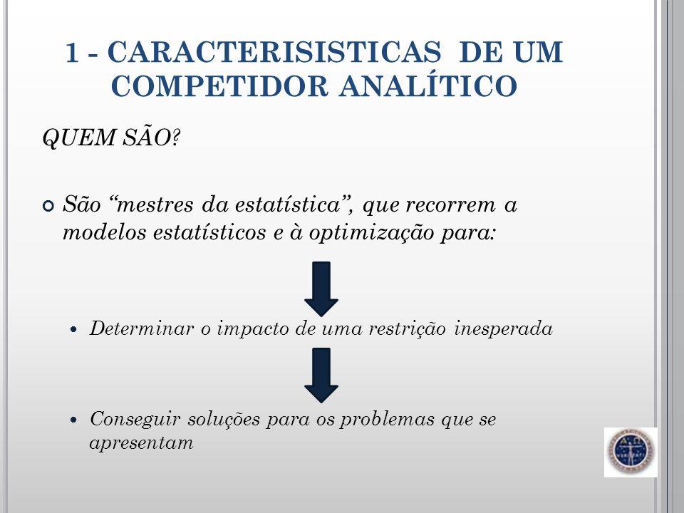 1 - CARACTERISISTICAS DE UM COMPETIDOR ANALÍTICO QUEM SÃO? São mestres da estatística, que recorrem a modelos estatísticos e à optimização para: Deter