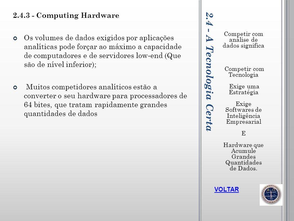 2.4 - A Tecnologia Certa Competir com análise de dados significa Competir com Tecnologia Exige uma Estratégia Exige Softwares de Inteligência Empresar