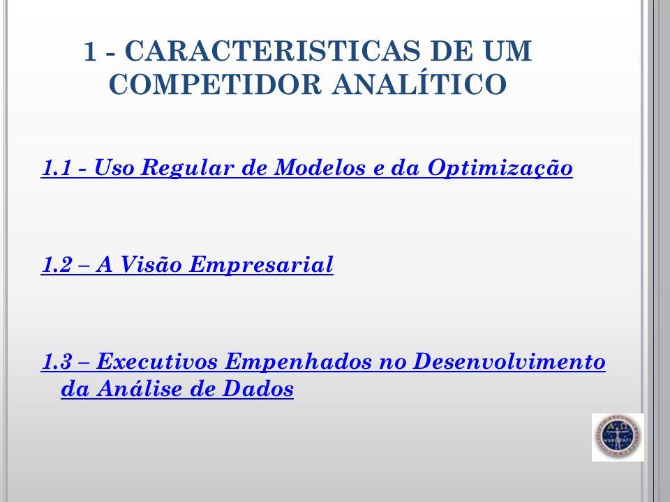 1 - CARACTERISTICAS DE UM COMPETIDOR ANALÍTICO 1.1 - Uso Regular de Modelos e da Optimização 1.2 – A Visão Empresarial 1.3 – Executivos Empenhados no