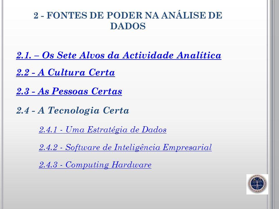 2 - FONTES DE PODER NA ANÁLISE DE DADOS 2.1. – Os Sete Alvos da Actividade Analítica 2.2 - A Cultura Certa 2.3 - As Pessoas Certas 2.4 - A Tecnologia